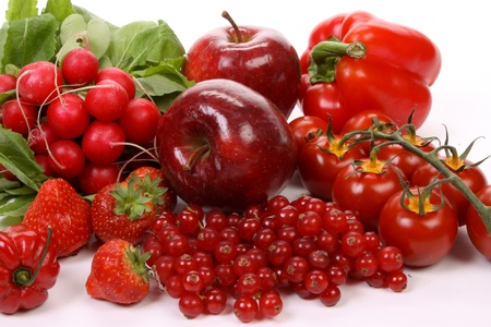 Composition of several red fruits over white