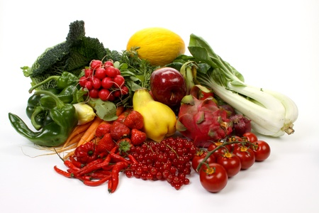Composition of several fruits and vegetables photo