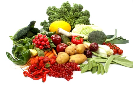 cebollas: Composici�n de varias frutas y verduras