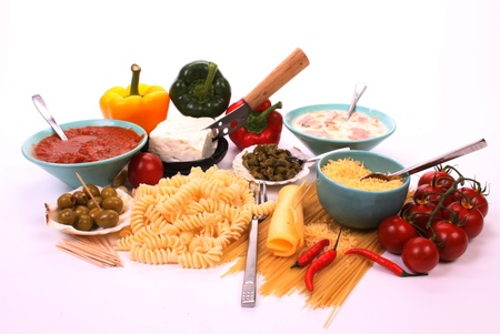 italian cusine: Italian pasta and the ingredients to make a meal