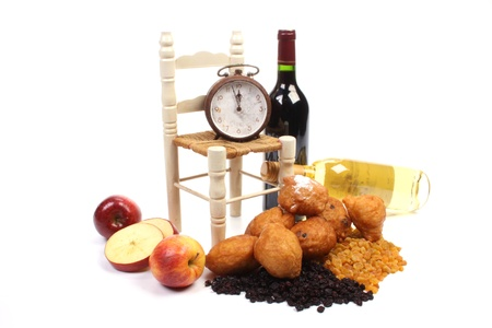 Dutch donuts with ingredients to make it like apple and raisins Stock Photo