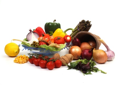 Various fresh products to make a healthy salad photo