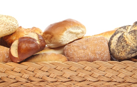 breadloaf: Bread and buns isolated against a white background
