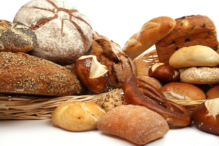 Various kinds of fresh baked  bread, breadrolls and buns