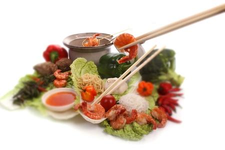 Chinees eten met ingrediënten om een maaltijd Stockfoto