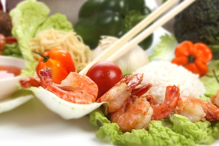 Chinese food with ingredients to make a meal Stock Photo - 9686257