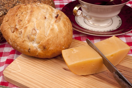 Simple old fashioned breakfast with bread and cheese photo