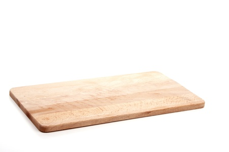 Wooden cut board over white