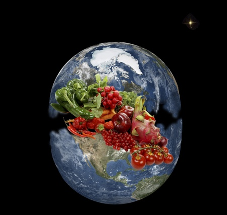mondial: Planet earth in space whit rich fresh fruits and vegetables Stock Photo