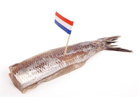Typisch Nederlands gezouten haring genaamd maatje of zoute haring