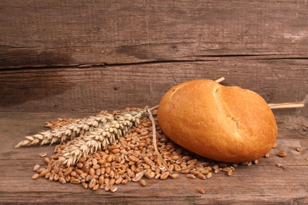 Fresh baked bread and wheat in a studio setting photo