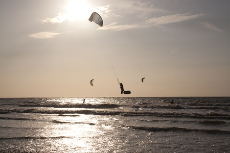 Kitesurfing in the evenng along the French coast