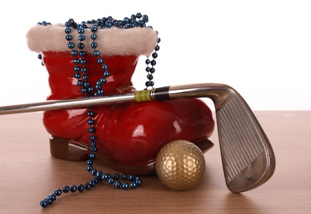 christmas golf: GOLF BALL IN A STUDIO SETTING Stock Photo