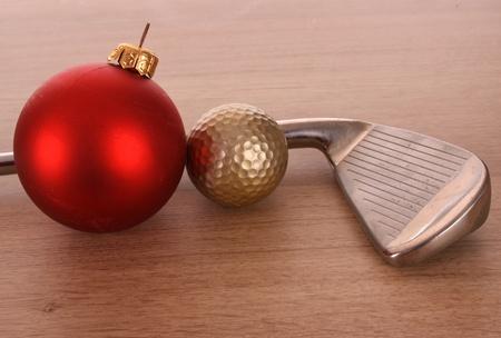 christmas golf: GOLF BALL IN A STUDIO SETTING Stock Photo