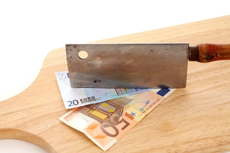 The Euro is under fire and chopped Stock Photo