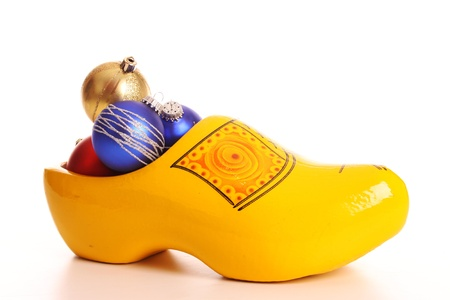 clog: Baubles for christmas on white background in a studio