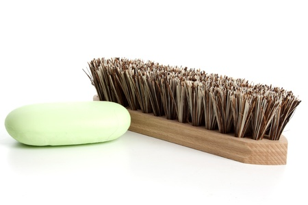 scrubber: Scrubber   on a white background Stock Photo