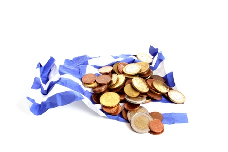 burried: Wrinkled Greek flag burried under Euro coins against a white background
