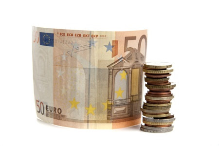 Euro under pressure in the financial world on a white background Imagens
