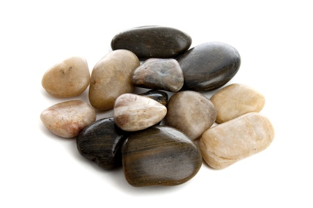 pebblestone: Pile of shining stones in a studio setting over white Stock Photo