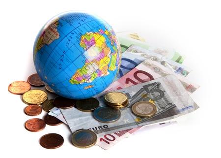 Interpretatie van de wereldwijde economische problemen Stockfoto