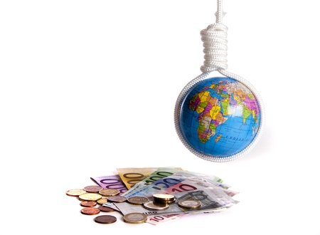 Interpretation of the world wide economic problems captured by gallows Stock Photo - 12698091