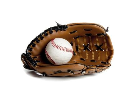 Base ball handschoen in een studio omgeving op witte Stockfoto