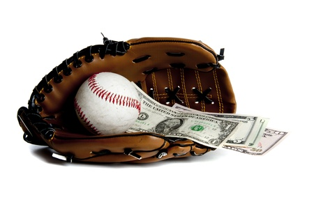 leather glove: Interpretation of the world wide economic problems Stock Photo