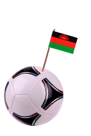 malawi flag: Soccerball or football decorated with a small national flag on a toothstick