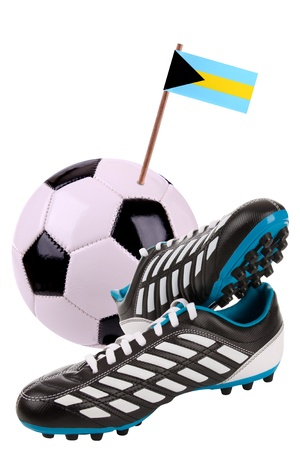 cleats: Pair of cleats or football boots with a small flag of Bahamas