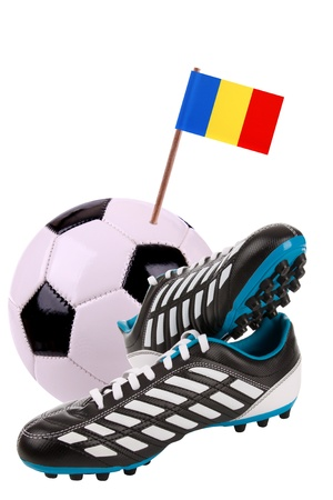 cleat: Pair of cleats or football boots with a small flag of Chad