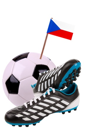 cleats: Pair of cleats or football boots with a small flag of Czech Republic Stock Photo