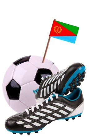 Pair of cleats or football boots with a small flag of Eritrea Stock Photo - 13348407