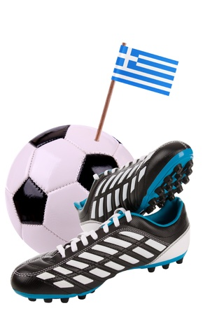 cleats: Pair of cleats or football boots with a small flag of Greece