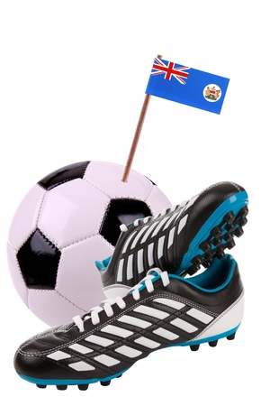 cleat: Pair of cleats or football boots with a small flag of Hongkong Stock Photo