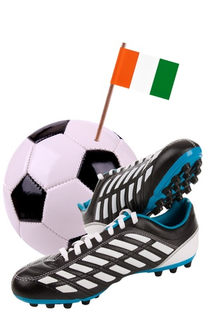 cleat: Pair of cleats or football boots with a small flag of Ivory Coast