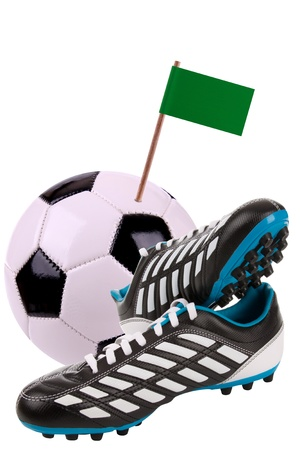 cleats: Pair of cleats or football boots with a small flag of Libia Stock Photo