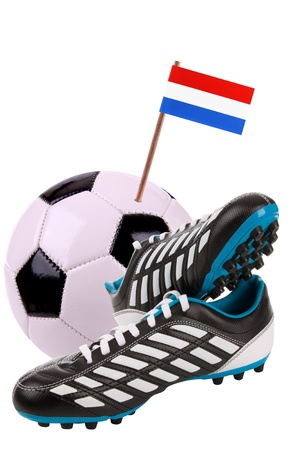 cleat: Pair of cleats or football boots with a small flag of Luxembourg