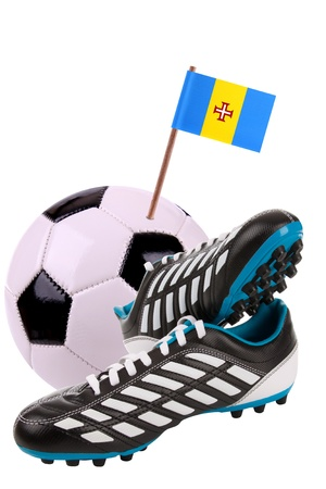 cleats: Pair of cleats or football boots with a small flag of Madeira Stock Photo