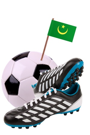 cleats: Pair of cleats or football boots with a small flag of Mauritania
