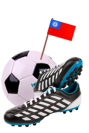 cleat: Pair of cleats or football boots with a small flag of Myanmar