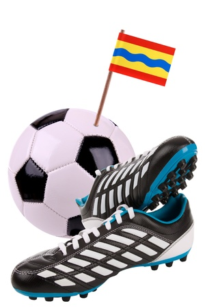 Pair of cleats or football boots with a small flag of Overijssel Stock Photo - 13348568