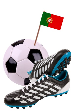 cleat: Pair of cleats or football boots with a small flag of Portugal