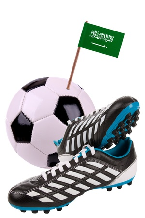 cleats: Pair of cleats or football boots with a small flag of Saudi Arabia