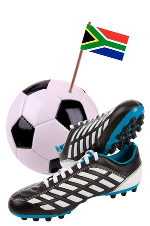 cleat: Pair of cleats or football boots with a small flag of South Africa