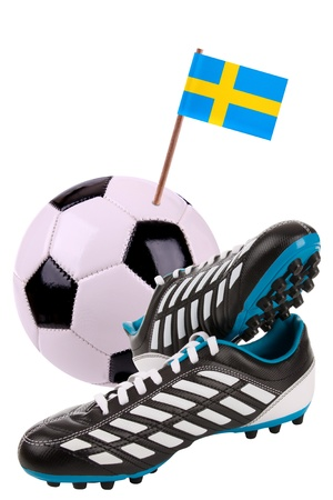 cleat: Pair of cleats or football boots with a small flag of Sweden