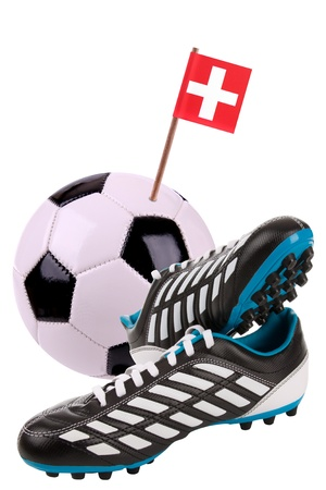 cleat: Pair of cleats or football boots with a small flag of Switzerland