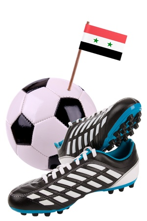 cleats: Pair of cleats or football boots with a small flag of Syria