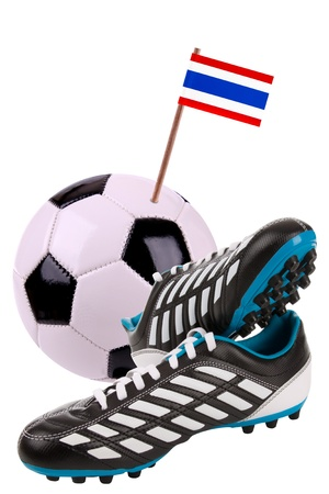 cleat: Pair of cleats or football boots with a small flag of Thailand
