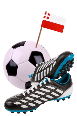 cleats: Pair of cleats or football boots with a small flag of Utrecht